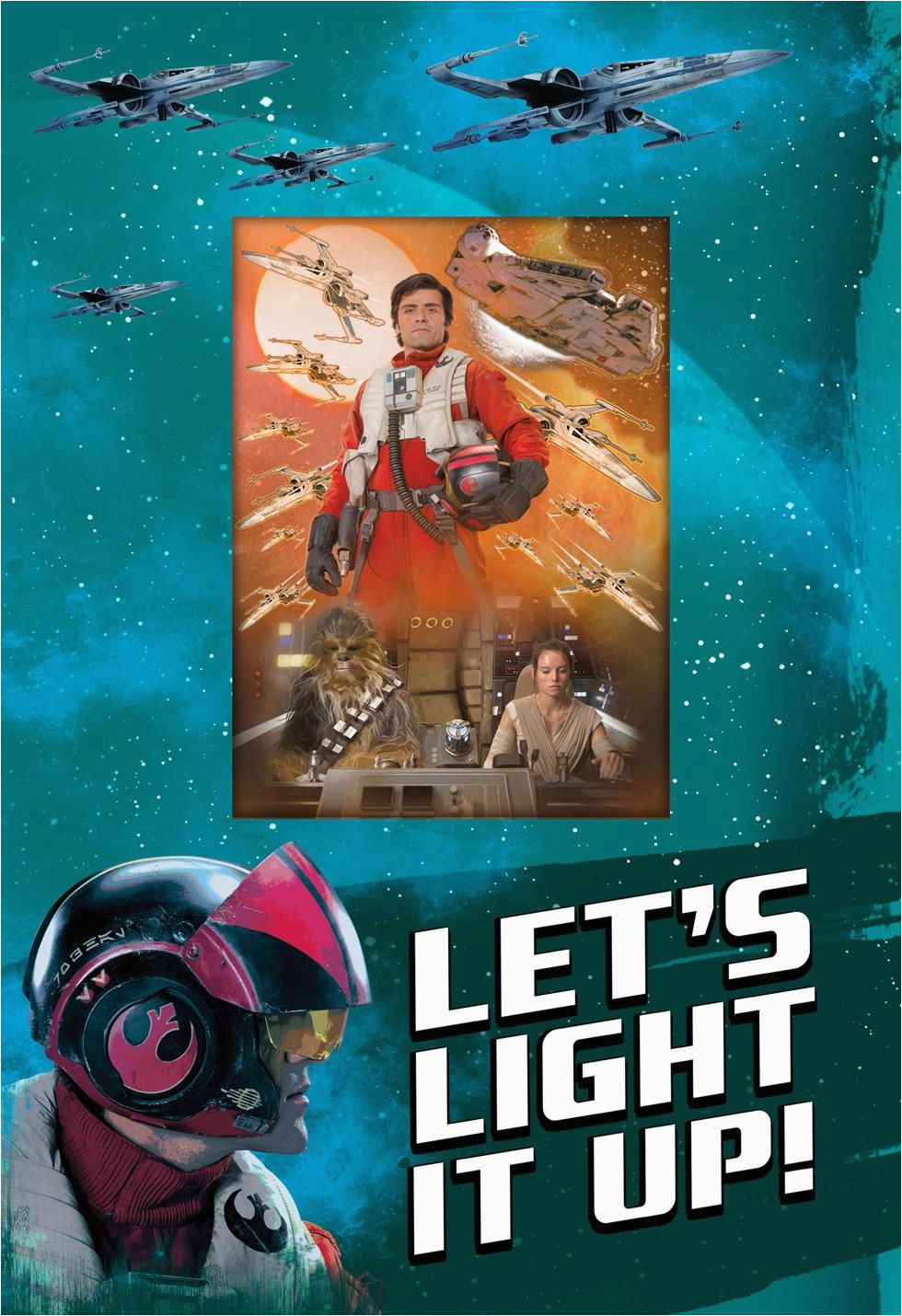 light it up star wars poe dameron birthday card