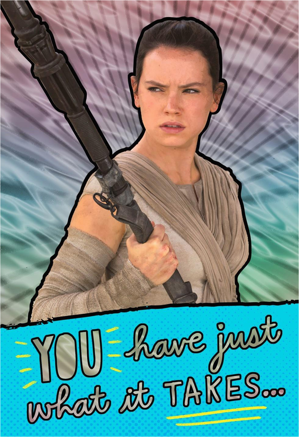 star wars rey awesome girl birthday card greeting