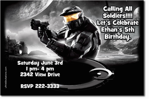 halo birthday invitations candy wrappers thank you cards