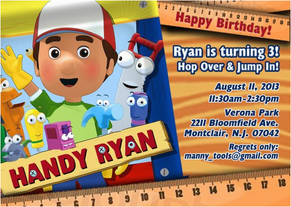 Handy Manny Birthday Invitations
