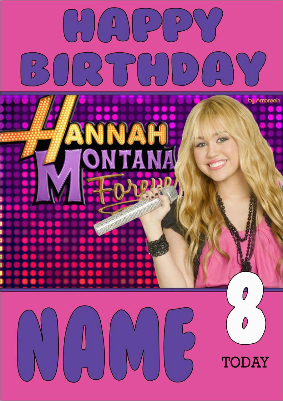 personalised hannah montana birthday card 4