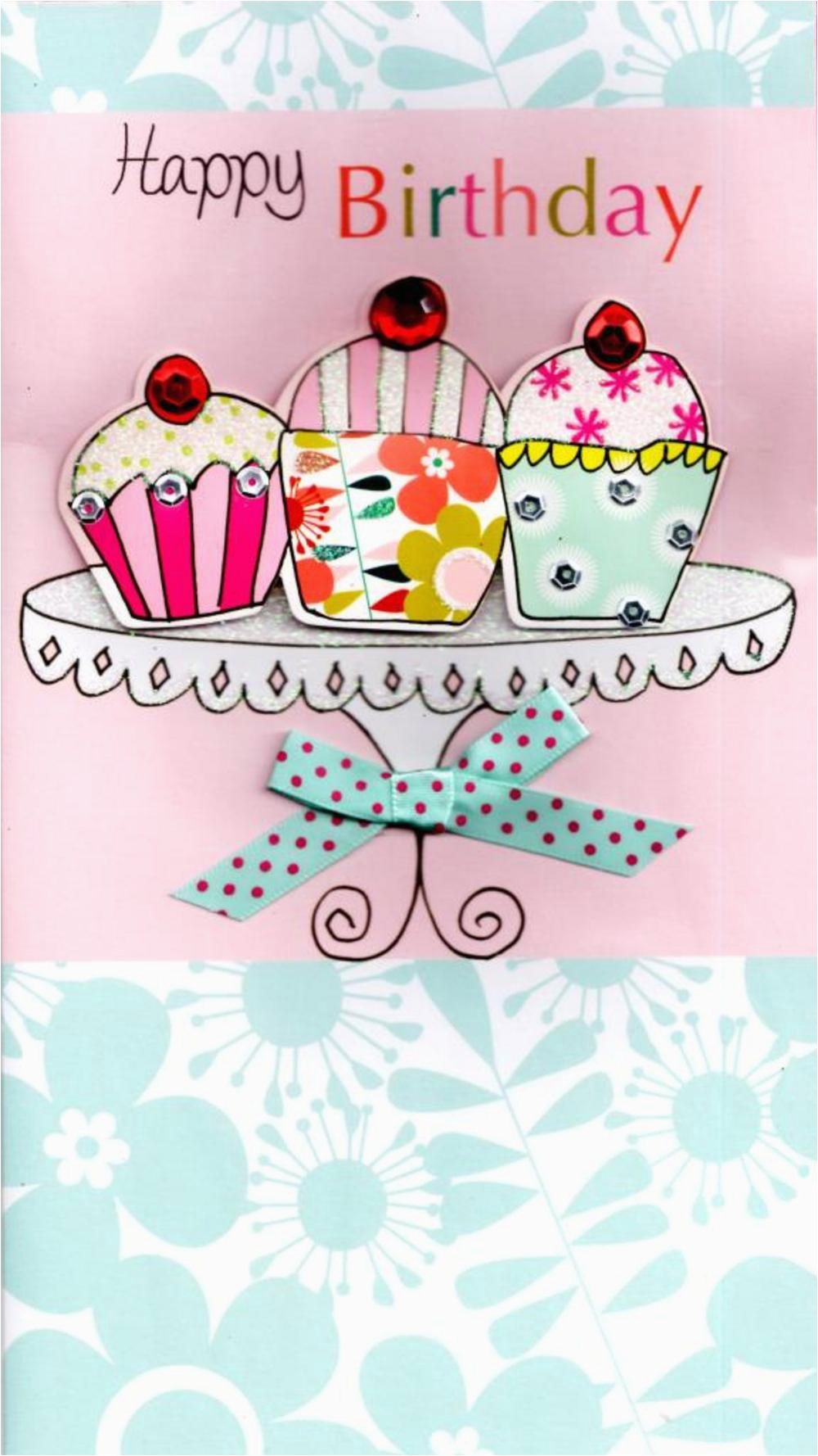 cupcakes pretty happy birthday greeting card cards