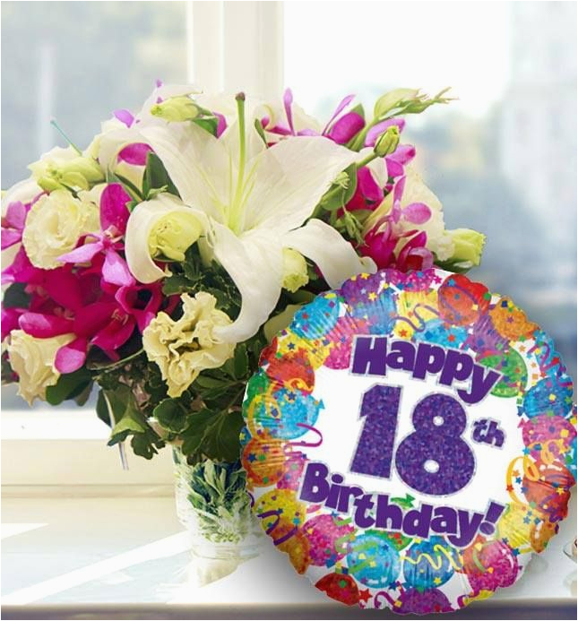 18th birthday flowers and balloon available for uk wide