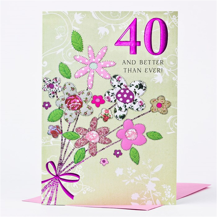 40th birthday card bouquet of flowers only 99p