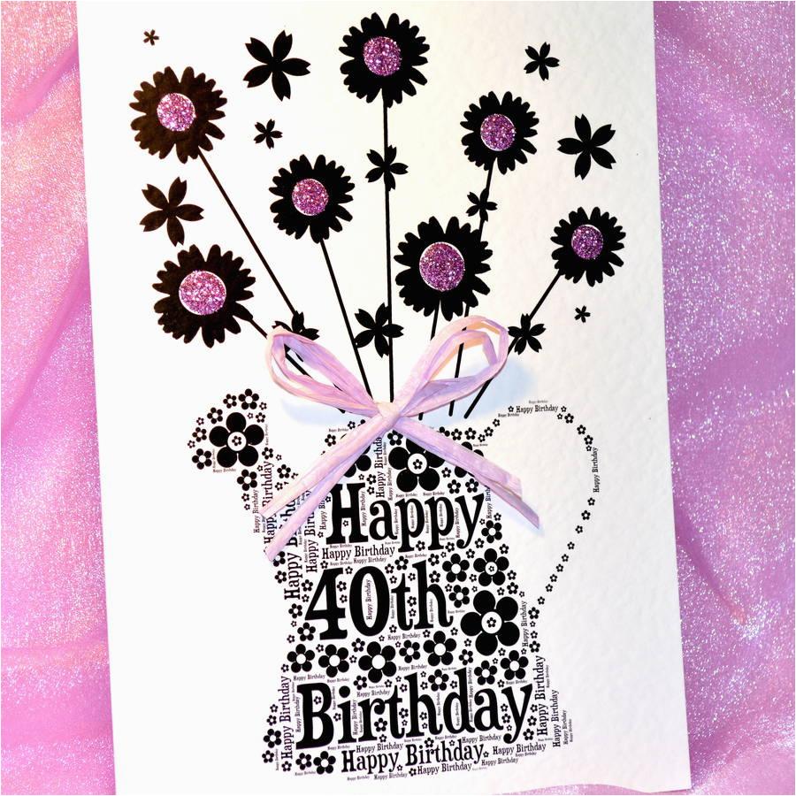 40th happy birthday flower sparkle card by sew very