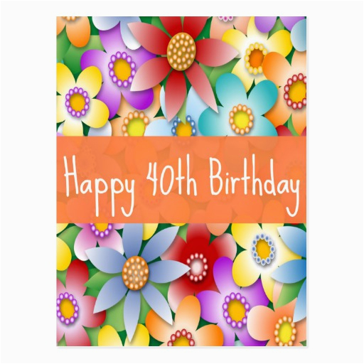 diva 39 s happy 40th birthday flower power postcard zazzle