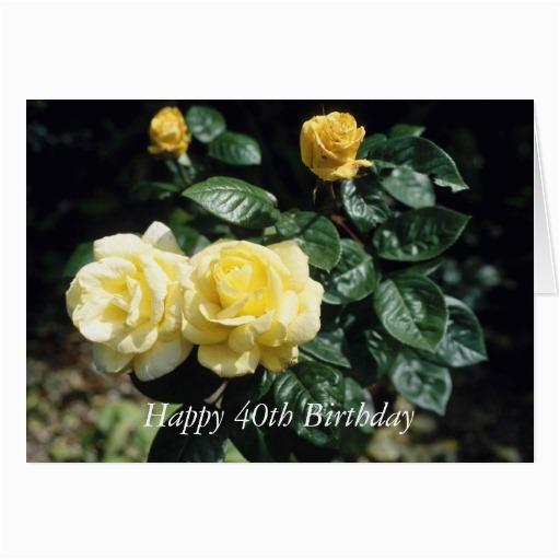 happy 40th birthday flower card zazzle