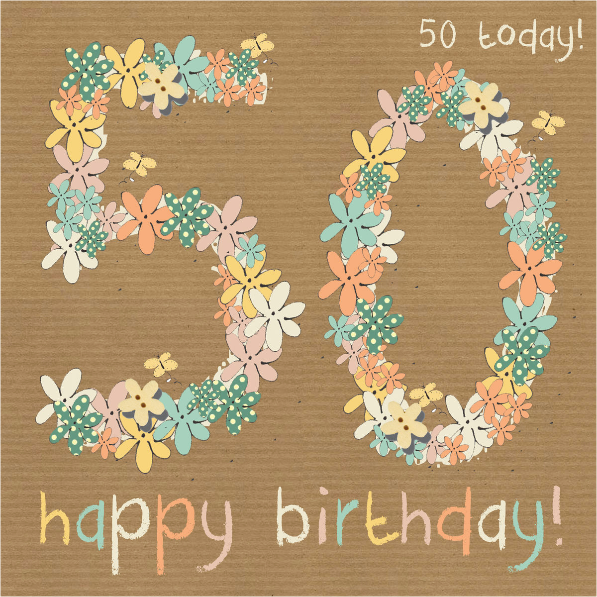 floral 50th happy birthday card karenza paperie