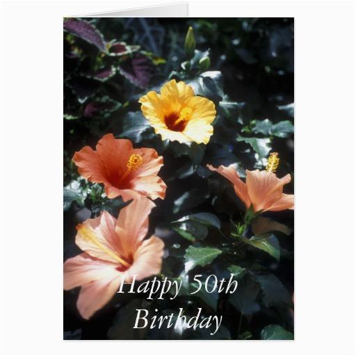 Happy 50th Birthday Flowers Happy 50th Birthday Flower Card Zazzle