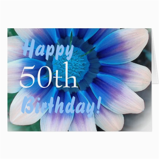 happy 50th birthday with magic blue flower card zazzle