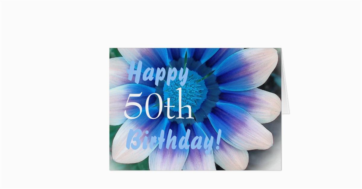 Happy 50th Birthday Flowers Happy 50th Birthday with Magic Blue Flower Greeting Card