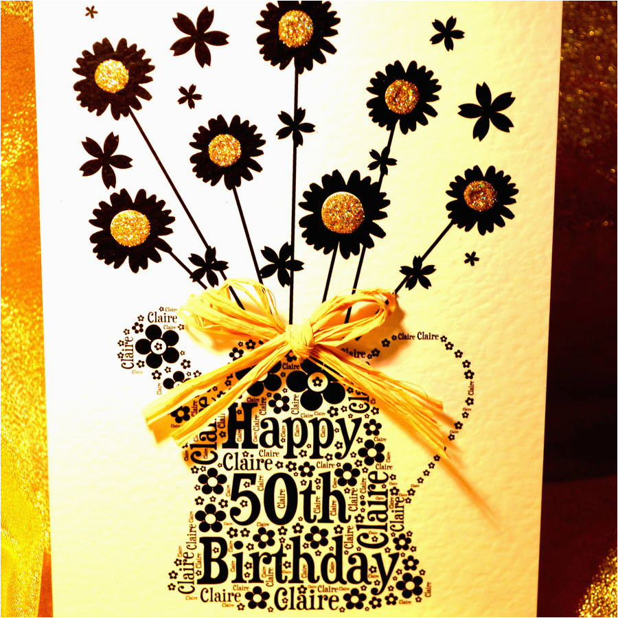 Happy 50th Birthday Flowers Personalised Happy Birthday Flowers Name Age Card by Sew
