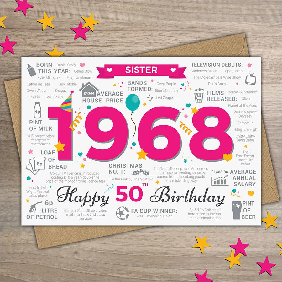 Happy 50th Birthday Sister Card 1968
