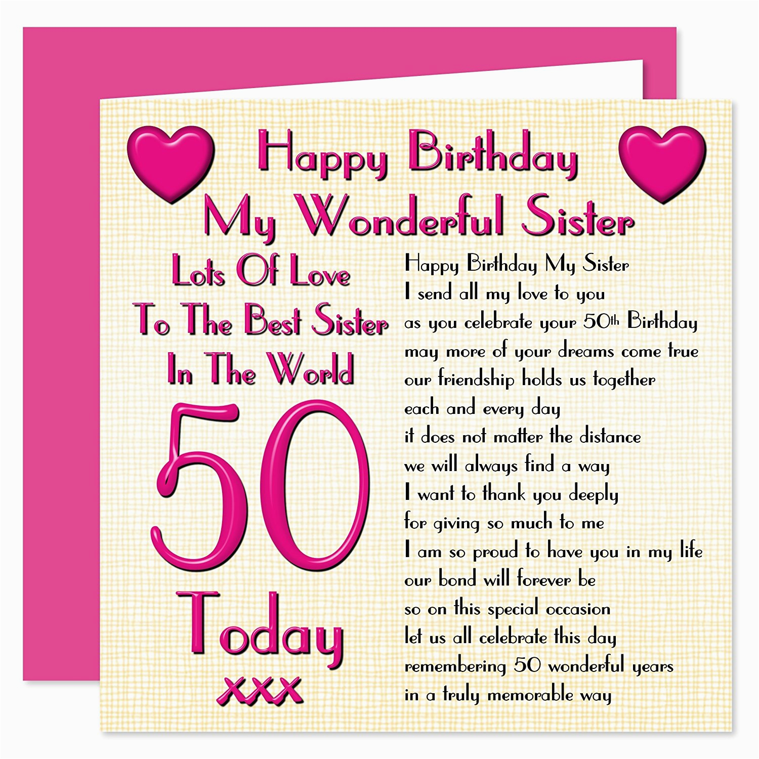 Happy 50th Birthday Sister Card Gift For My Ftempo