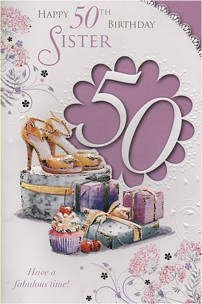 Happy 50th Birthday Sister Card Female Relation Cards