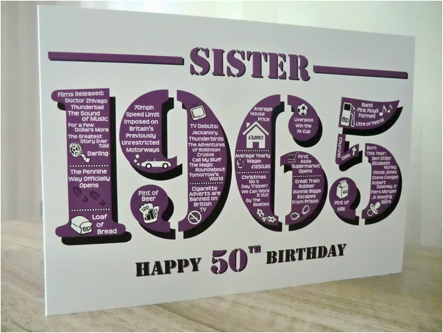 Happy 50th Birthday Sister Card Born In 1965 Folksy