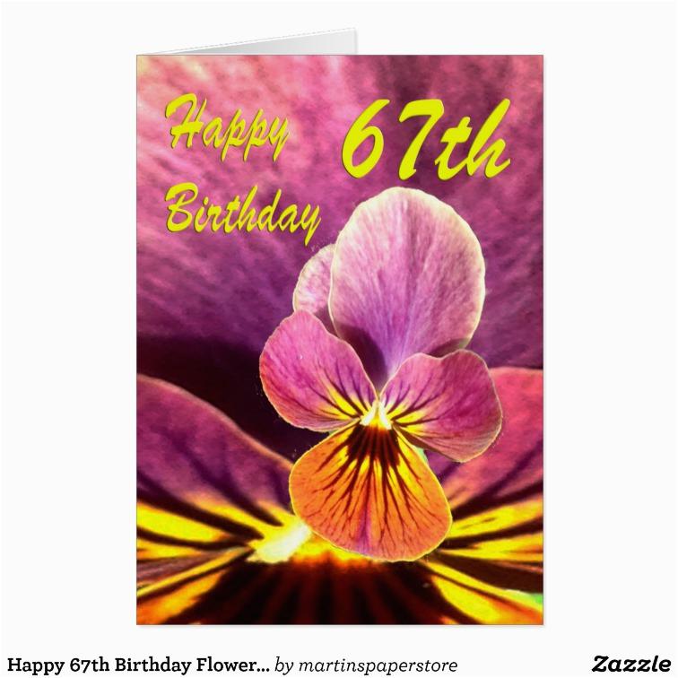 happy 67th birthday flower pansy card zazzle