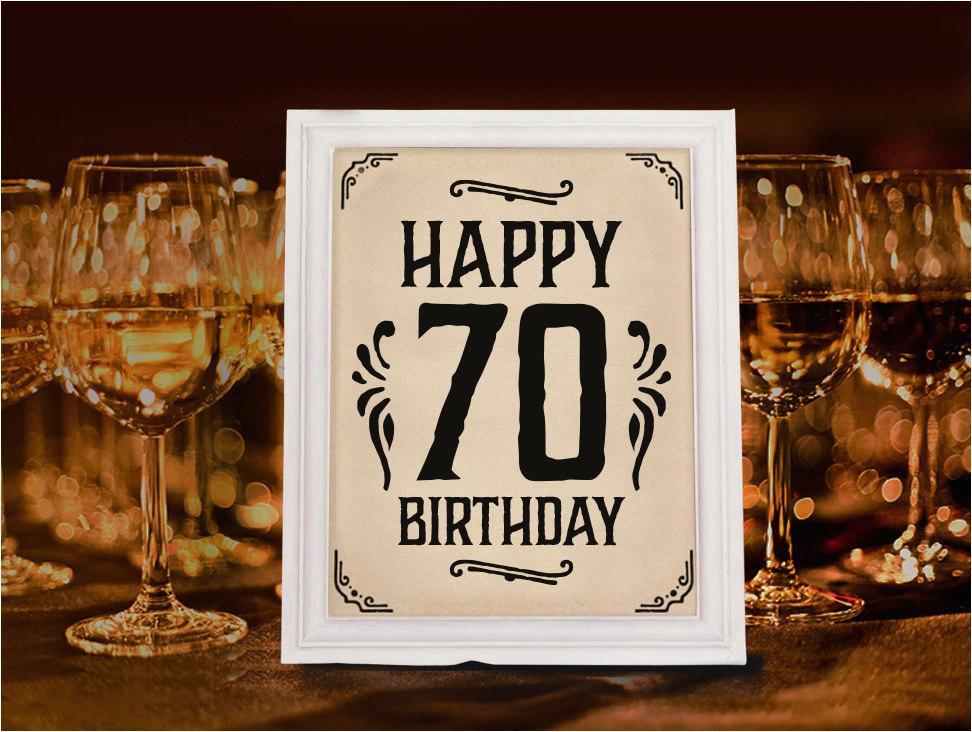 70th birthday party decoration printable