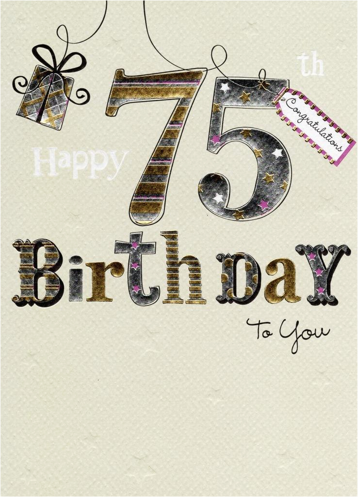 kcsnma055 happy 75th birthday foiled greeting card second nature cards
