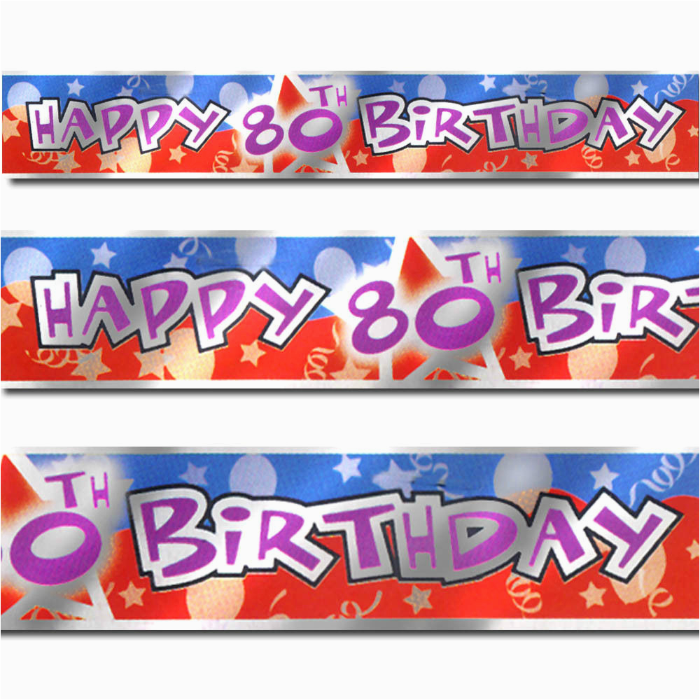 Happy 80th Birthday Decorations 12ft Blue Red Party Foil Banner