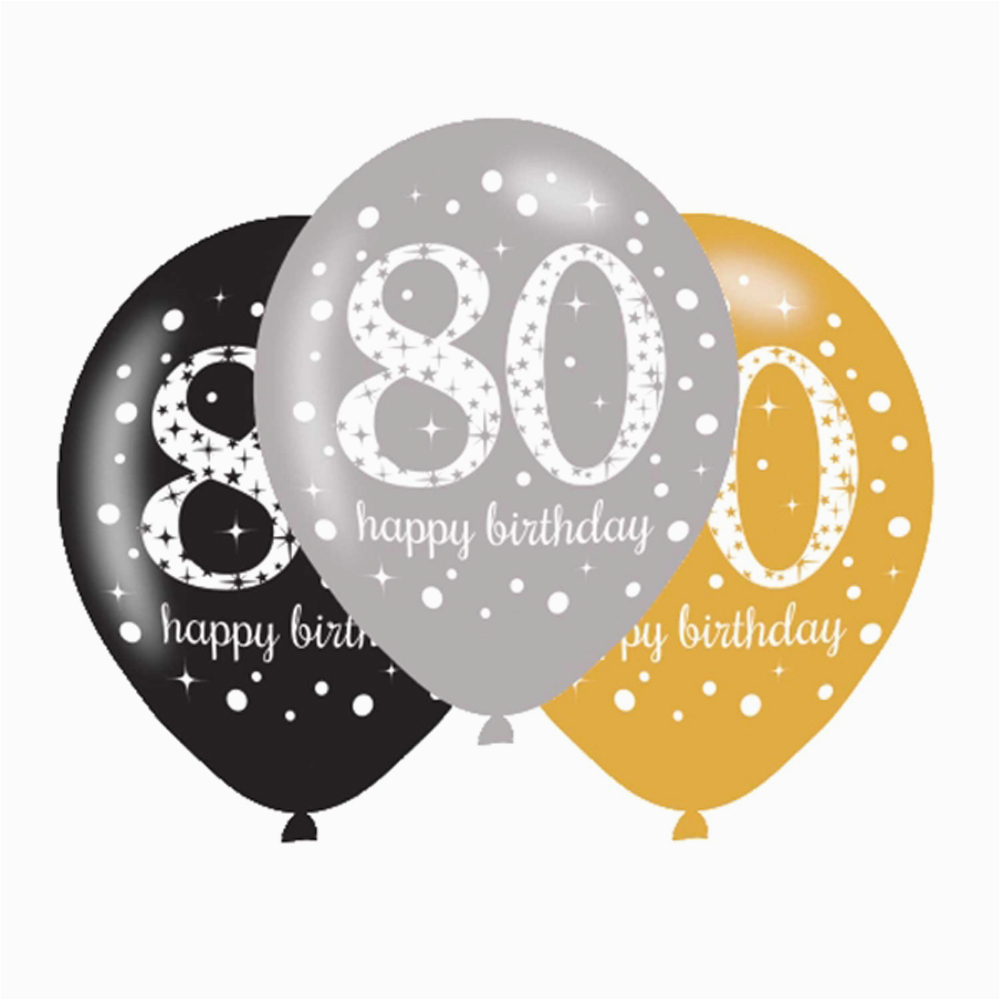 Happy 80th Birthday Decorations 6 X Balloons Black Silver Gold Party