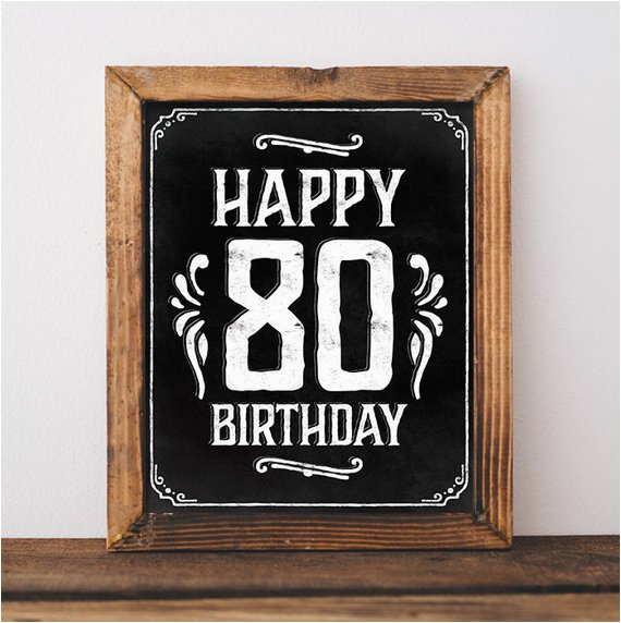 Happy 80th Birthday Decorations Party Sign