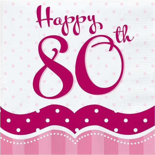Happy 80th Birthday Decorations Perfectly Pink Party Lunch Napkins X