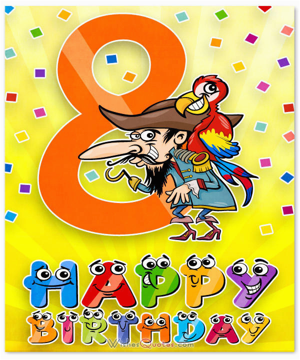 Happy Birthday 8 Year Old Card 8th Wishes For Boy Or
