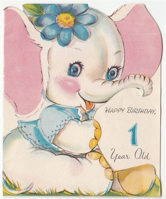 Happy Birthday Card 1 Year Old Baby White Elephant Girl With Flower Vintage
