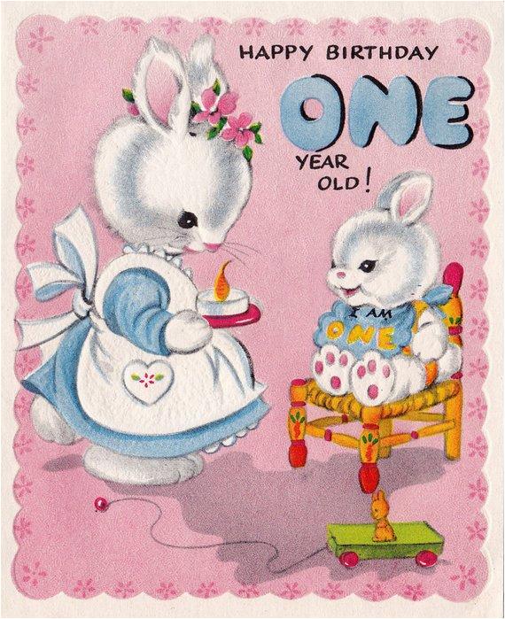 Happy Birthday Card 1 Year Old Vintage 1950s Happy Birthday 1 Year Old by Retrovintagebazaar