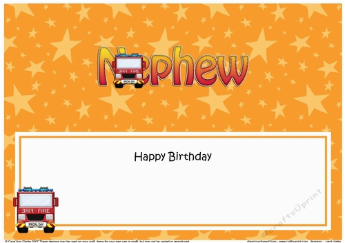 Happy Birthday Card Inserts Large Dl Nephew Insert Cup867192 359