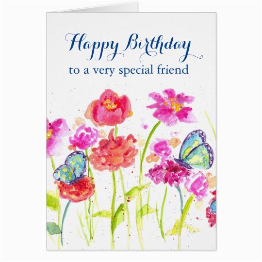 Happy Birthday Special Friend Blue Butterflies Card 137205885726246947