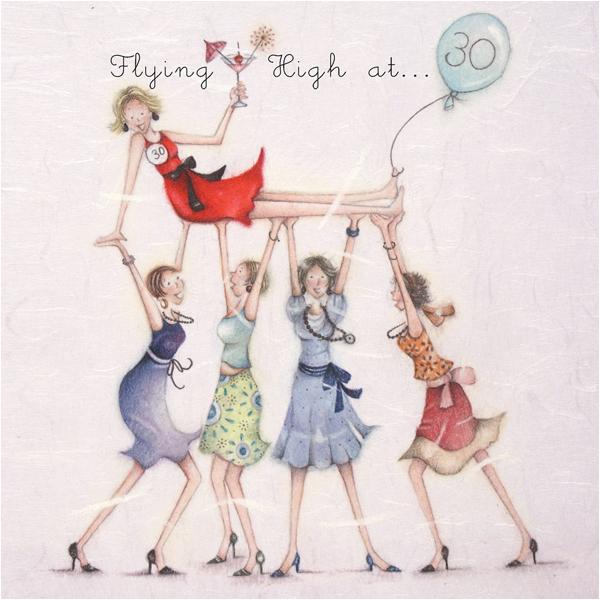 happy 30th birthday card lady flying high 30