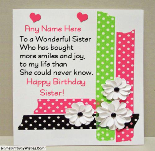 Happy Birthday Cards For Sister With Name Beautiful Wishes Photo