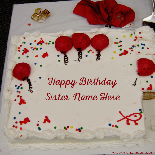 Happy Birthday Cards For Sister With Name Big Decorated White Cake Image Edit