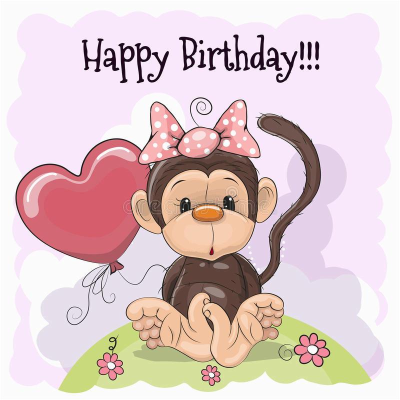 illustrazione di stock biglietto di auguri per il compleanno con la scimmia image78660291