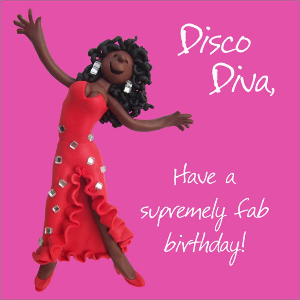kchmesb104 disco diva happy birthday card one lump or two holy mackerel greeting cards