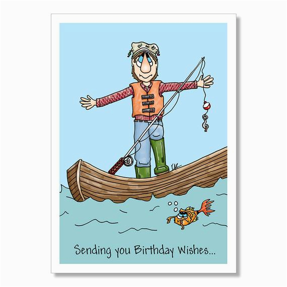 birthday card for fisherman funny