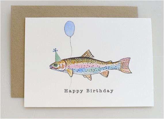 trout birthday card party hat balloon