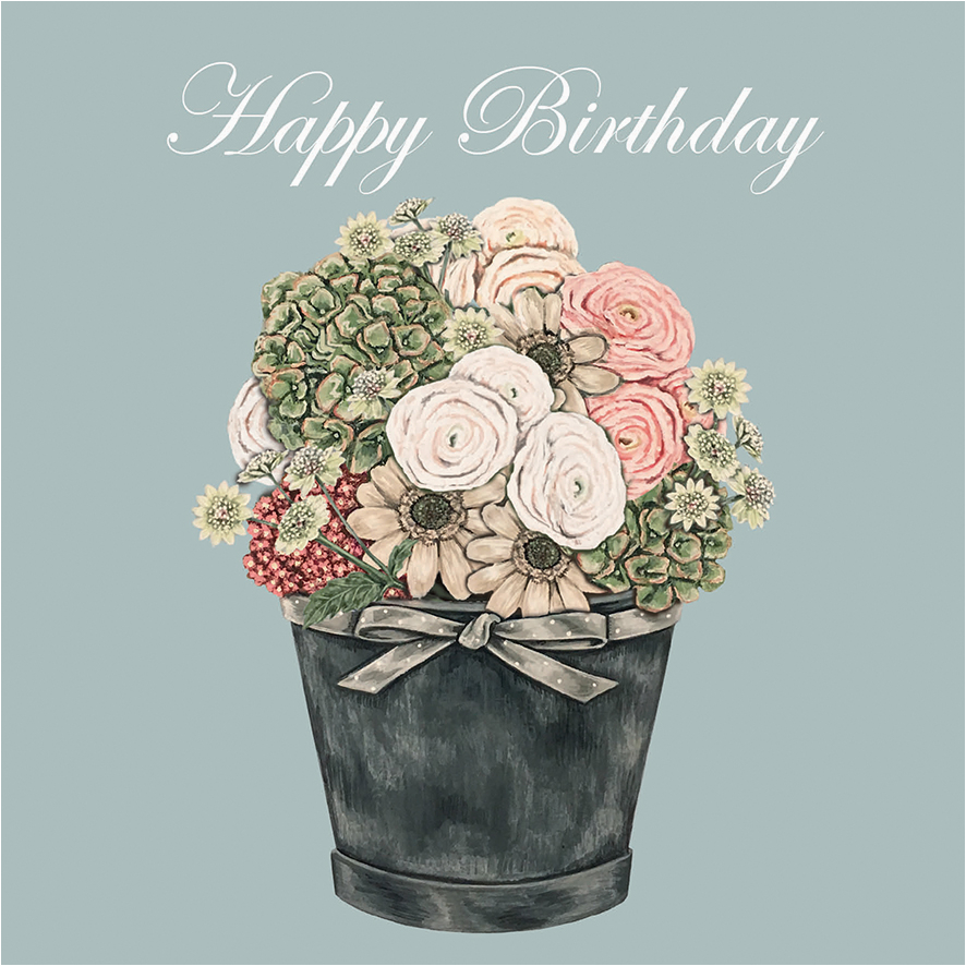 gc53 happy birthday flowers sally swannell for wrendale