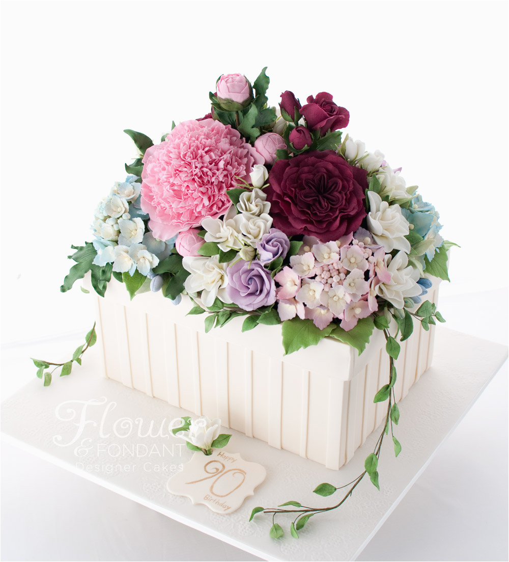 90th birthday flower box cake flower fondant
