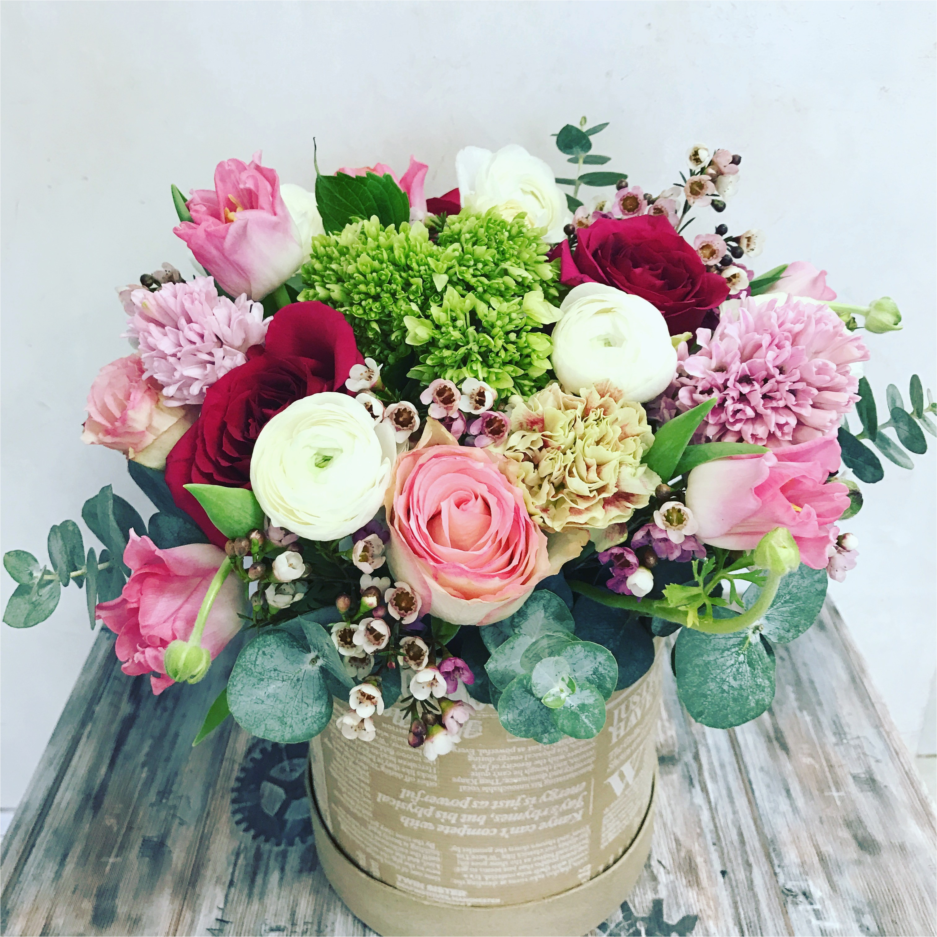 mix box of flowers by snowdrop flowers