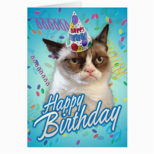 Happy Birthday Grumpy Cat Greeting Cards 137038262933965591