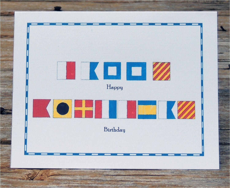 Happy Birthday Marine Cards Nautical Flag Marine Alphabet Code Happy Birthday Card Set Of