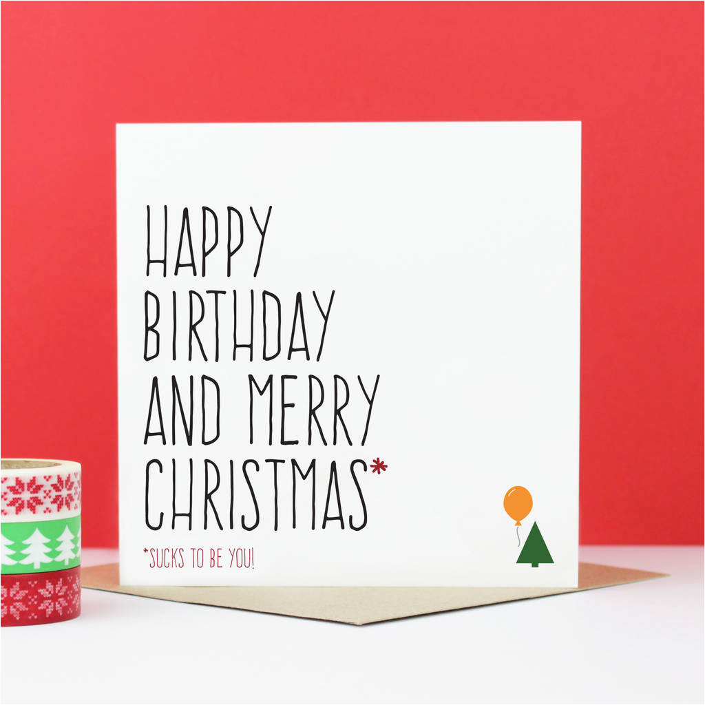 happy birthday merry christmas card