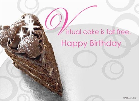 Happy Birthday Virtual Cards Fat Free Cake Postcard Ecard