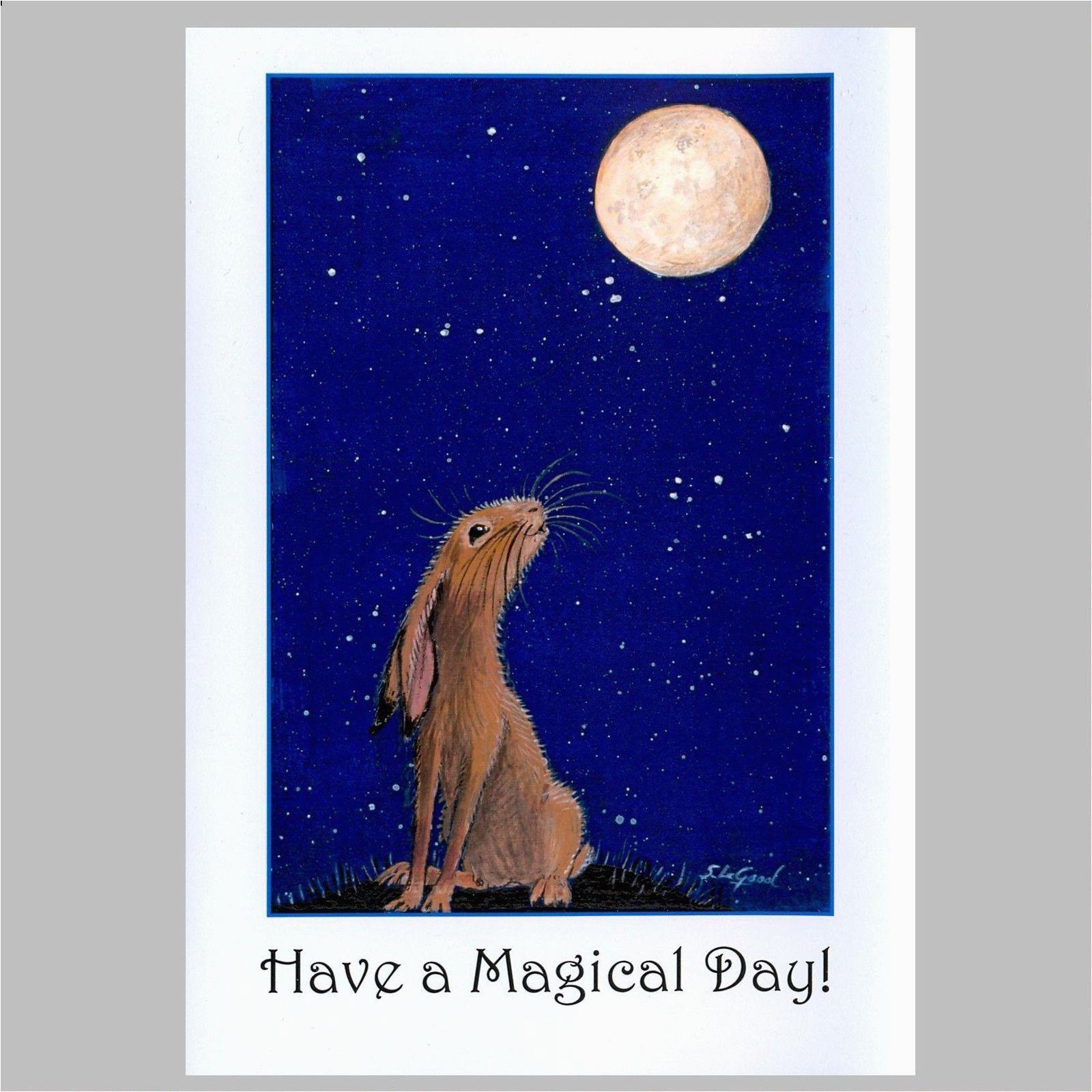 orig large moon gazing hare painting birthday 351023812780