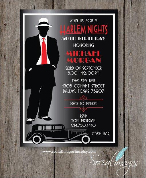 harlem nights birthday party invitation