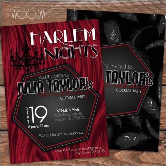 harlem nights themed birthday invitation