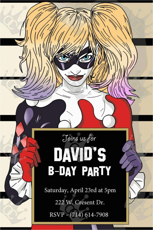Harley Quinn Birthday Invitation Template Custom Digital Printable Party